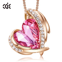 CDE Women Gold Necklace Pendant Embellished with Crystals from Swarovski Pink Heart Necklace Angel Wing Jewelry Mom Gift