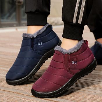 Kobieta śnieg buty pluszowe nowe ciepłe botki dla kobiet buty zimowe wodoodporne buty damskie kobiece buty zimowe damskie botki tanie i dobre opinie HAJINK CN (pochodzenie) Dół ANKLE Płytkie Stałe I01351 Mieszkanie z Podstawowe Krótki pluszowe Okrągły nosek Zima
