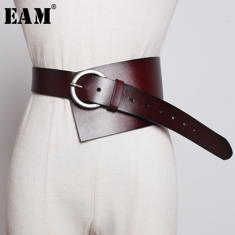 [EAM]  Pu Leather Multicolor Asymmetrical Wide Long Belt Personality Women New Fashion Tide All-match Spring Autumn 2020 1K756