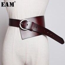 [EAM] Cinturón de cuero sintético para mujer, cinturón ancho y largo asimétrico, Multicolor, con personalidad, a la moda, combina con todo, para primavera y otoño, 2020, 1K756