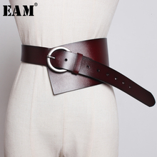 [EAM]  Pu Leather Multicolor Asymmetrical Wide Long Belt Personality Women New Fashion Tide All match Spring Autumn 2020 1K756