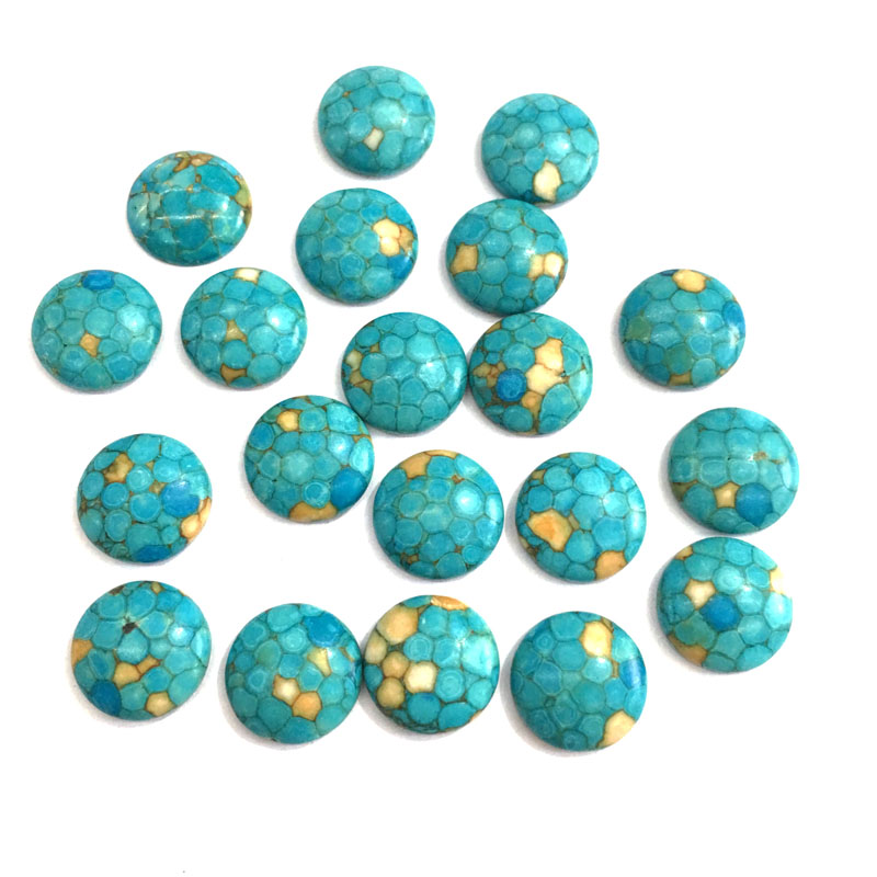 Wholesale 20PCS Natural Stones Turquoise Jade Stone Cabochon No Hole Beads for Making Jewelry DIY Necklace Pendants Loose Beads in Jewelry Findings Components from Jewelry Accessories