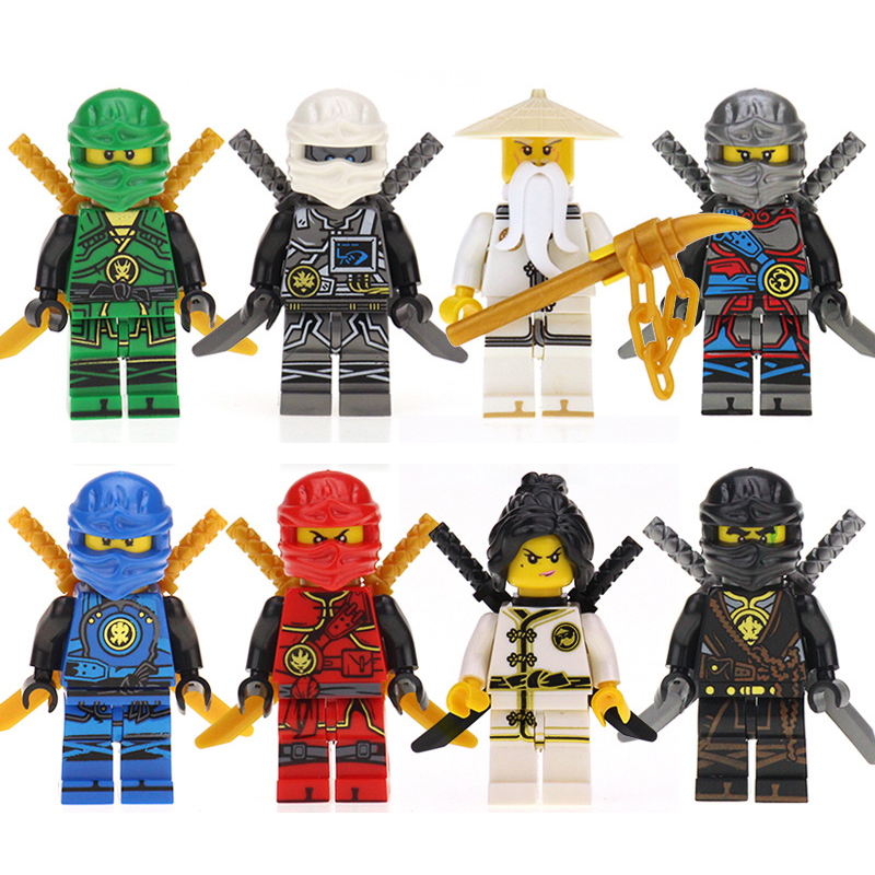 8pcs/set Model Ninjago Figures Assembled Building Kits Kids Blocks Bricks Toys Hobbies Set For Children Gifts