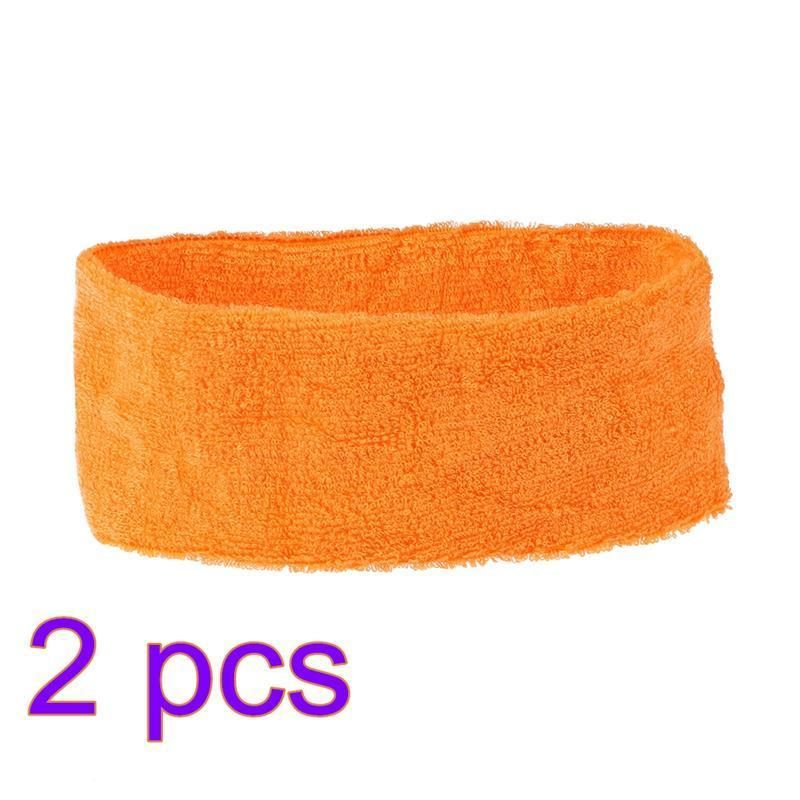 Sports Yoga Sweatbands Spa Facial Headband Make Up Wrap Head Terry Cloth Headband Adjustable Towel(Orange)