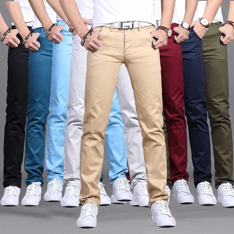 Pantalones Informales Ajustados De Algodon Para Hombre Pantalon De Negocios De Calidad Color Caqui Y Negro 28 A 38 Pantalones Vaqueros Aliexpress