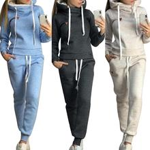 2Pcs Women Jogging Suit Solid Color Tracksuits Fleece Lined Hoodies Pants Set