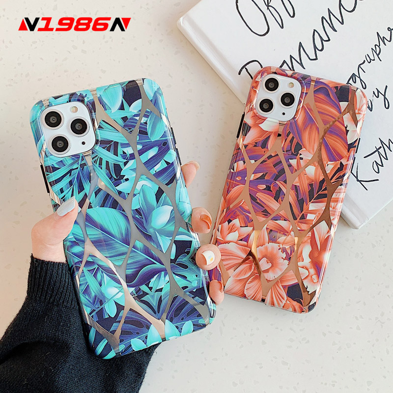 N1986N Phone Case For iPhone 11 Pro X XR XS Max 6 6s 7 8 Plus Luxury Plating Colorful Leaf Flowers Soft IMD For iPhone X Cover