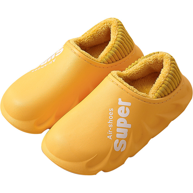 2020 Waterproof Non-Slip Home Slippers Women EVA Slippers Winter Warm Indoor Cotton Shoe Ladies Soft Couples Shoes Thick Bottom 6