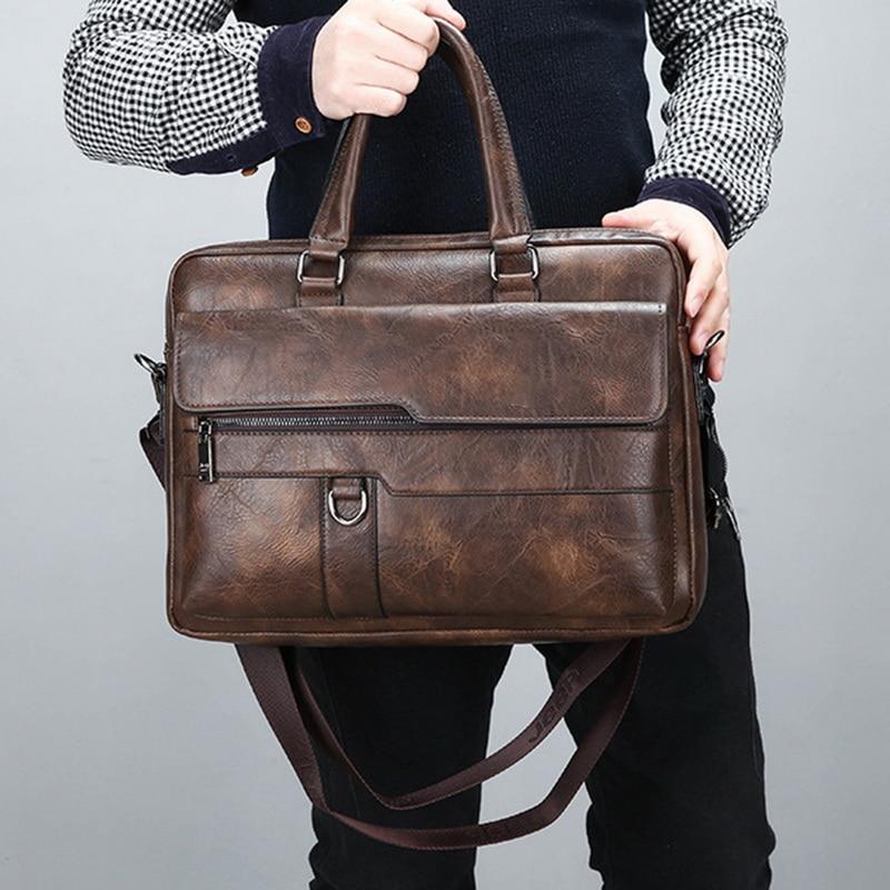 New Retro Men Solid Color Bag Faux Leather Briefcase Large Capacity Tote Shoulder Bag Large Casual Business Laptop Briefcase