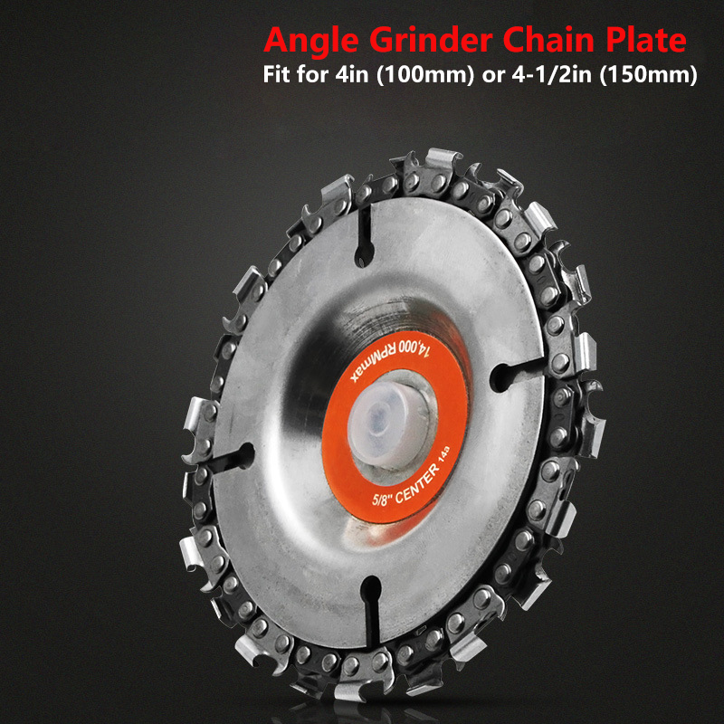 4/4.5/5/9 In Grinder Disc And Chain 22 Tooth Fine Abrasive Cut Chain 100/115/125 Angle Grinder Wood Carving Disc Cutting Shape