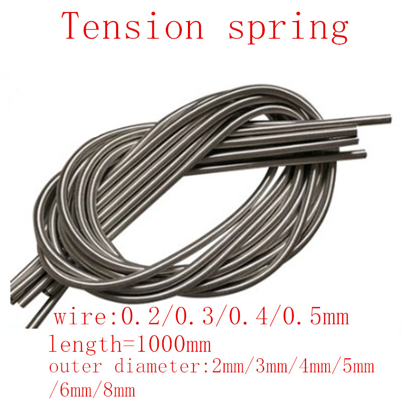 1pc/lot wire 0.2mm 0.3mm 0.4mm 0.5mm 1 meter Stainless Steel Tension Spring Extension Spring Out Dia 2mm/3mm/4mm/5mm/6mm/8mm image