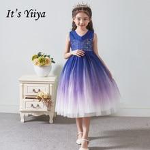 Цветок девочки платья для свадеб это Yiiya B098 элегантный Королевский голубой градиент бальные платья 2020 блестками девушки платье принцессы