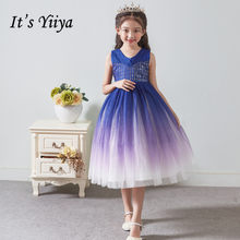 Flower Girl Dresses for Weddings It's Yiiya B098 Elegant Royal Blue Gradient Ball Gowns 2020 Sequined Girls Princess Dress(China)