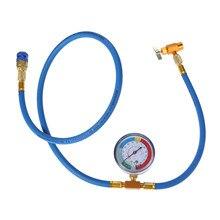 Manguera de carga de refrigerante Yetaha R134A para aire acondicionado de coche con calibre abrelatas acoplador rápido Kit de medición de diagnóstico automático