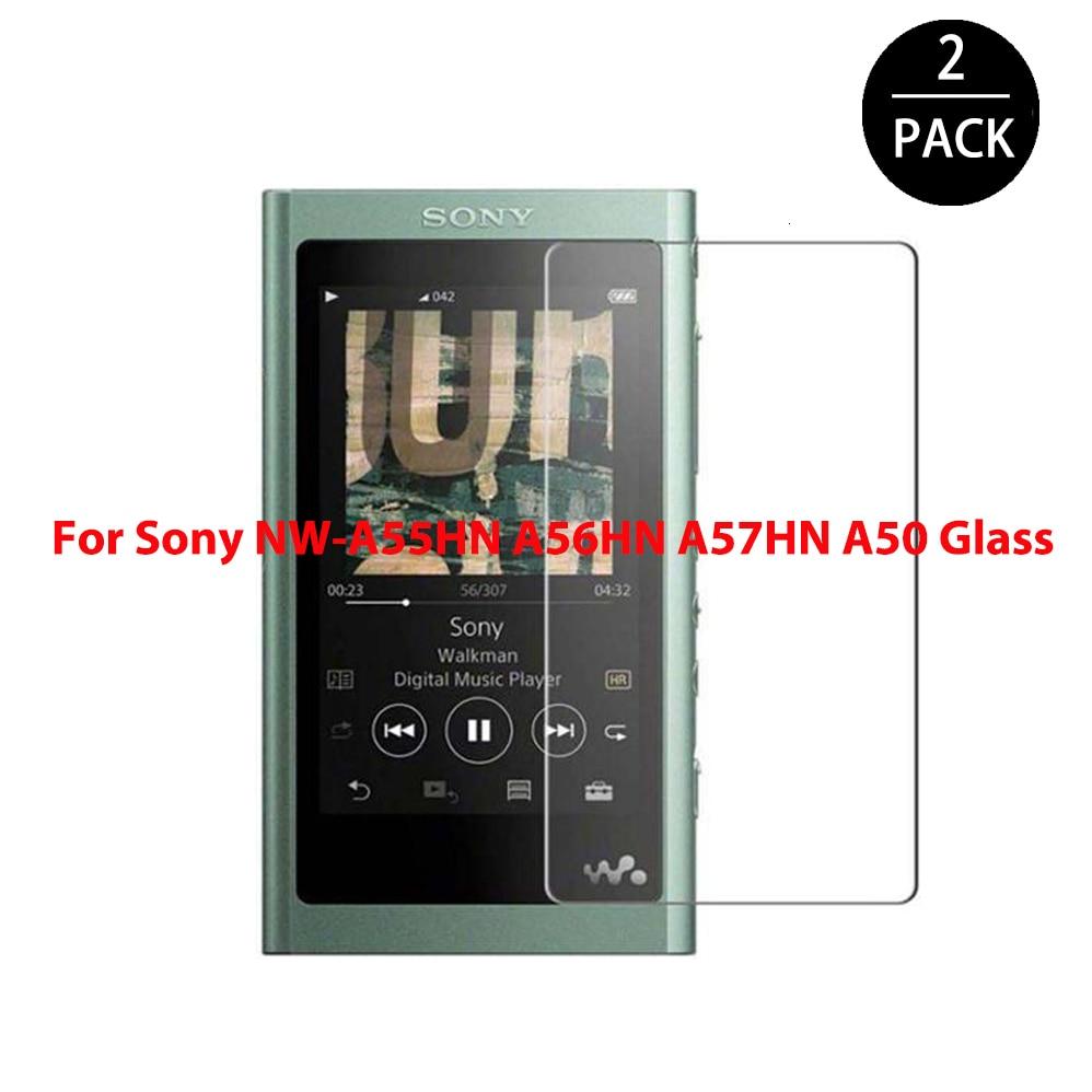 2 pacote 2.5d vidro temperado para sony walkman NW-A55HN a56hn a57hn a50 a55 a56 a57 mp3 player protetor de tela filme de risco claro