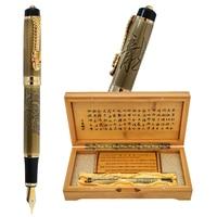 High Quality Luxury Jinhao Dragon Fountain Pen Vintage 0.5MM Nib Ink Pens Original Gift Box Set Office Supplies