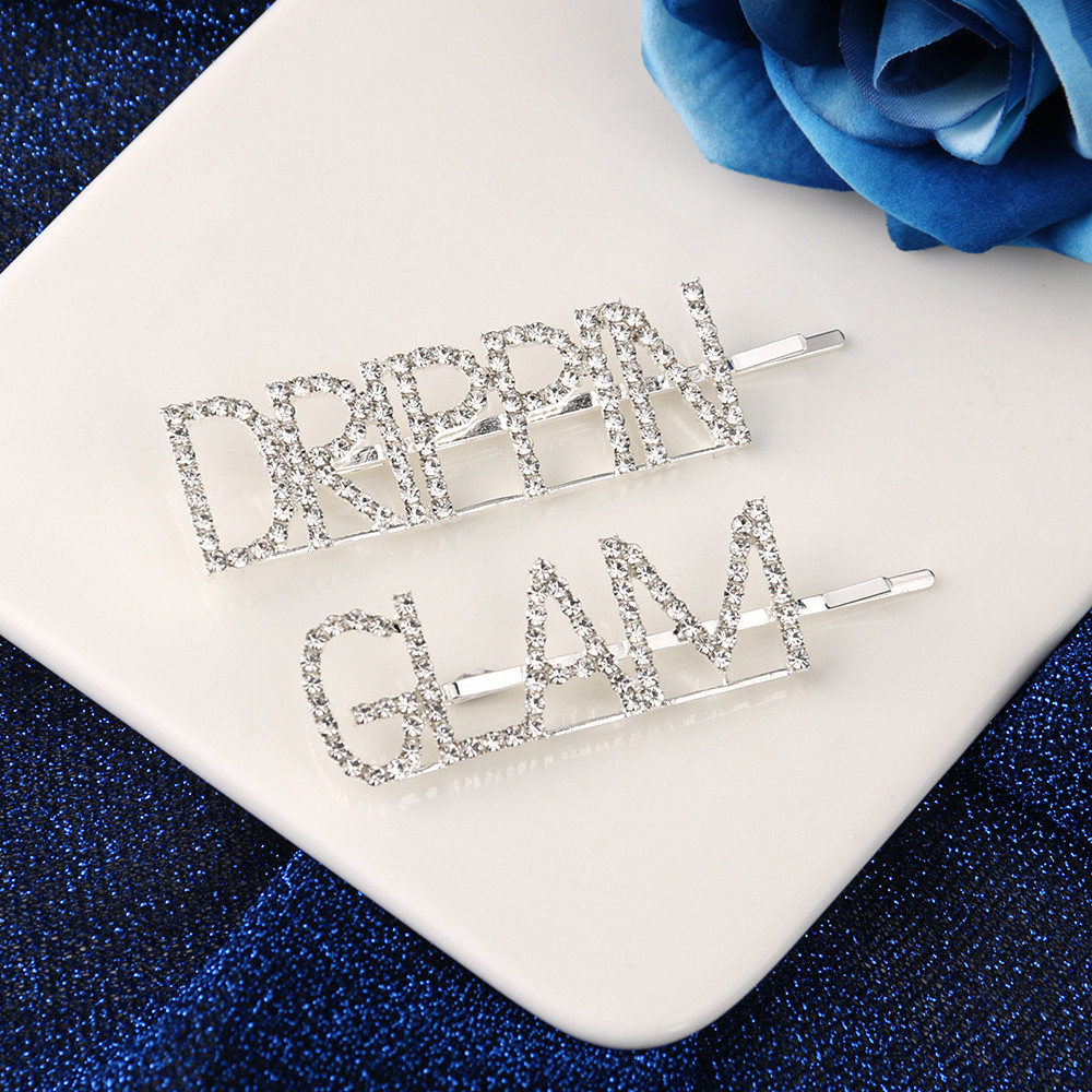 Fashion Crystal Hairpin Rhinestones Hair Clips For Women Girls GLAM DRIPPIN Letters Design Barrettes Hair Accessories
