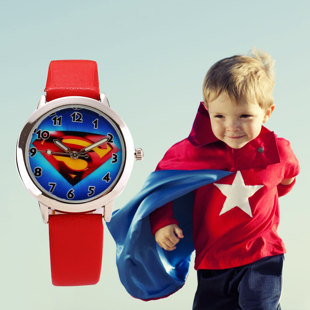 Superman Sign Cartoon Children Watch Boy Leather Sports Wristwatch Quartz Kids Clock 2019 Wholesale Drop Shipping Watch