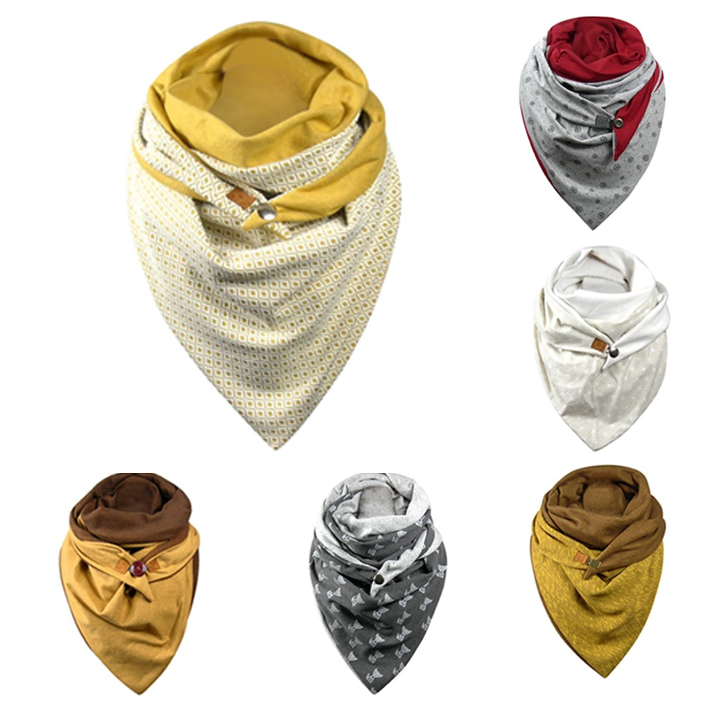 Women's Cotton Malaysia Warm Buttoned Turban Scarf Fashion Soild Dot Printing Button Soft Wrap Casual Warm Scarves Shawls