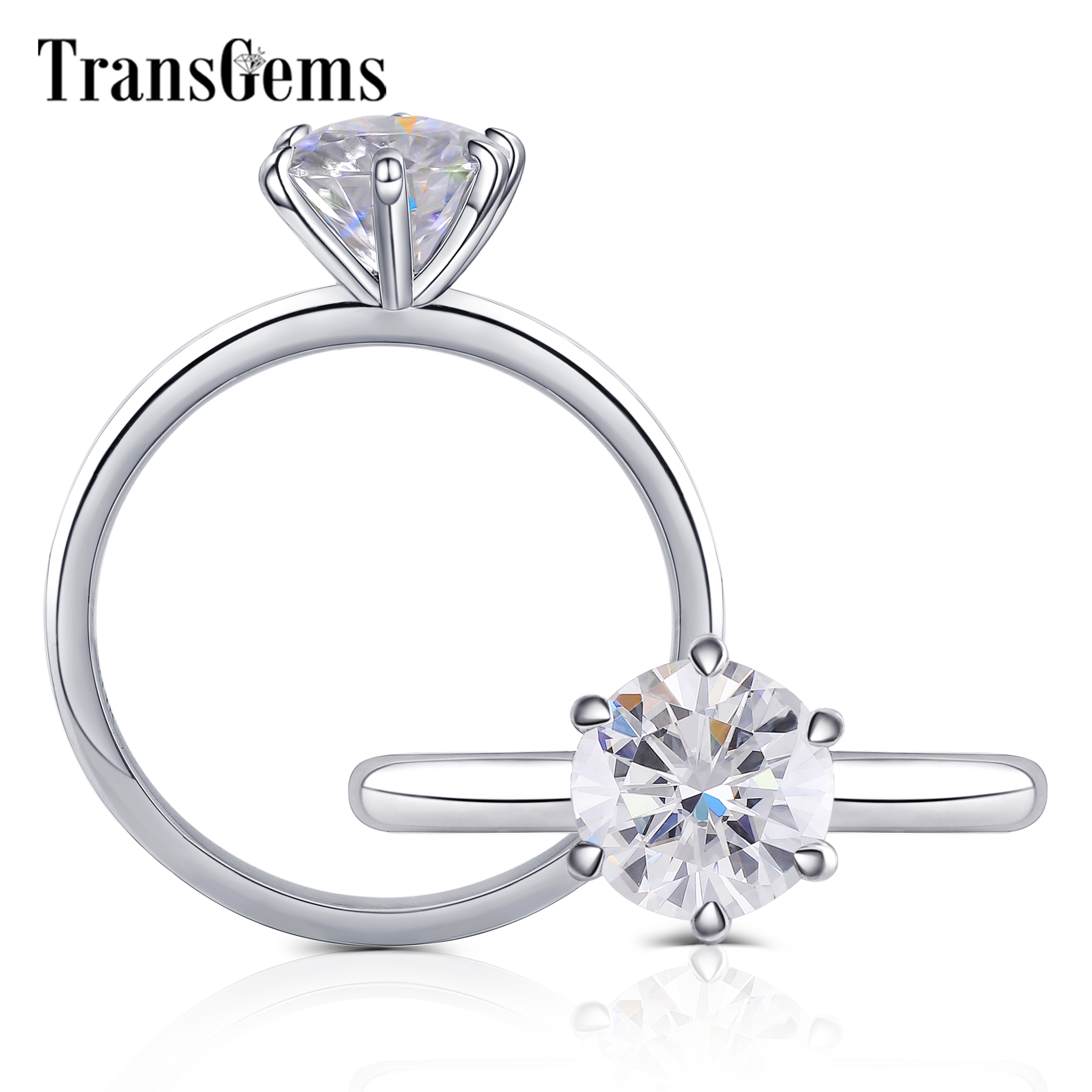 Transgems Solid 10K White Gold 1.5ct 7.5mm Round F Color Moissnaite Engagement Ring For Women Low Crown Setting Solitaire Ring