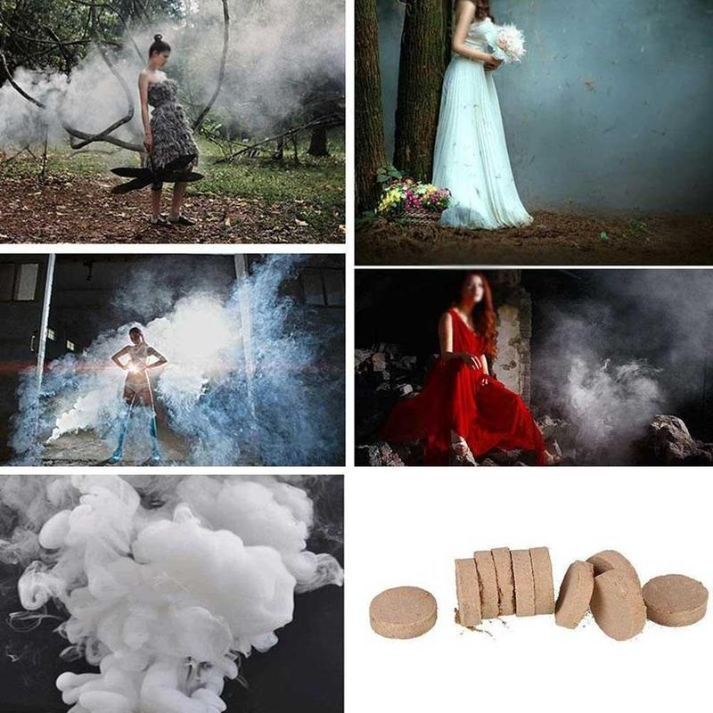 10pcs/set Smoke Film Cake White Smoke Effect Photography Aid Magic Tricks Halloween Party Spray Supplies Smoke Props Fog Magic