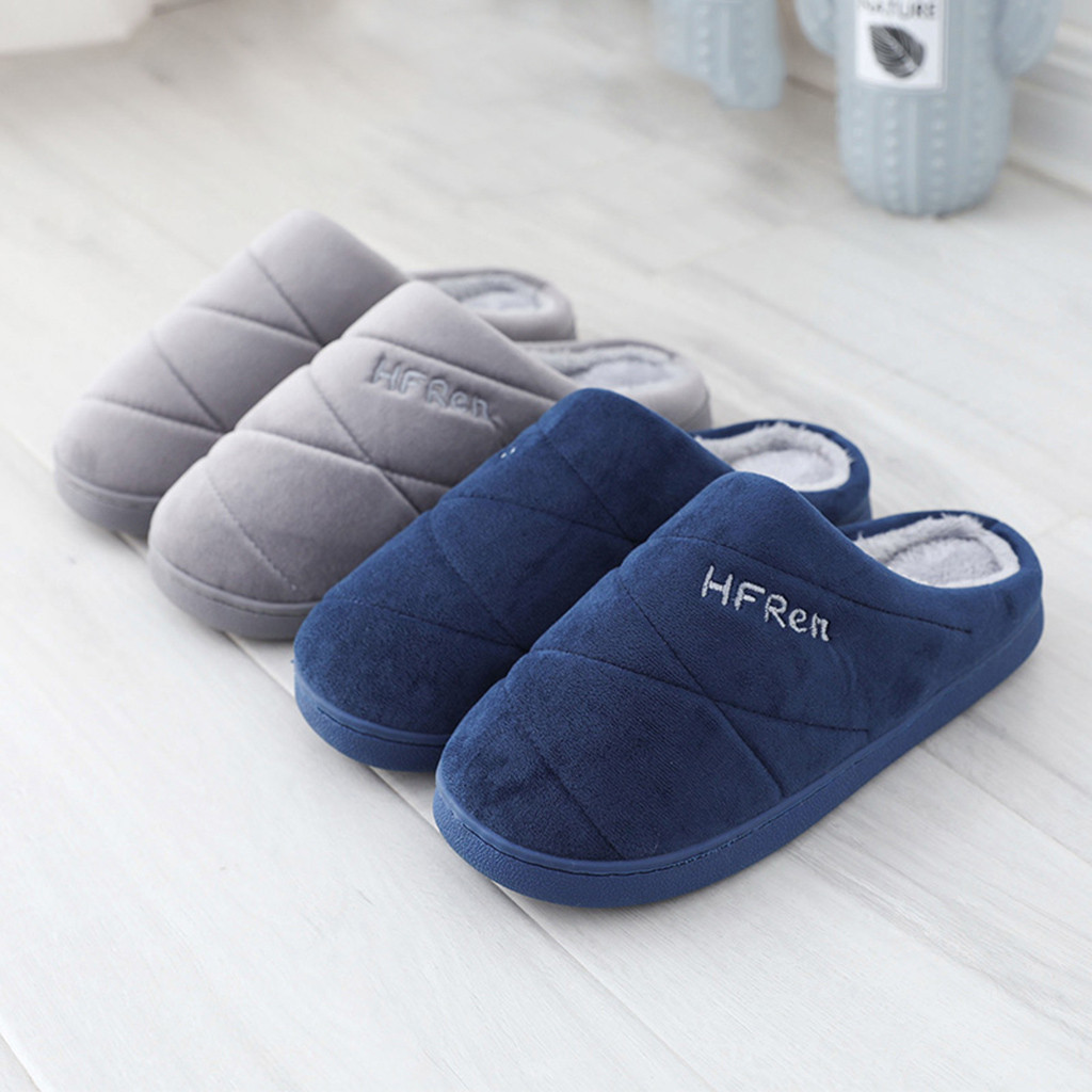 Men's Slippers Solid Color Indoor Short Plush Spring Winter Flat Shoes Male Home Bedroom Slides Slip On House Floor Slippers Men