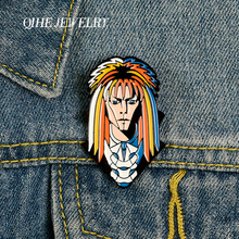 QIHE JEWELRY Rock Singer David Bowie Pins Music Figures Enamel Metal Brooches Badges Denim Clothes Women Fans Gifts