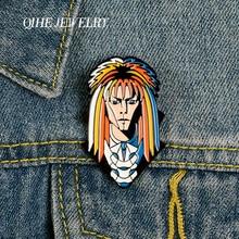 QIHE JEWELRY Rock Singer David Bowie Pins Music Figures Enamel Pins Metal Brooches Badges Denim Clothes Women Pins Fans Gifts homegaga zinc pins david bowie super star para backpack pride clothes metal medal for bag shirt hat shoe badges brooches d0846