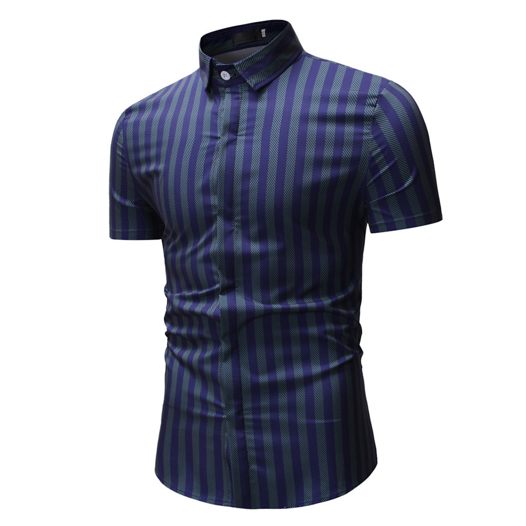 Men Shirt Bussiness Luxury Button Down Male Short Sleeve Top Blouse Casual Solid Hawaiian Shirt Hit Color Slim Fit Shirts  Jan15