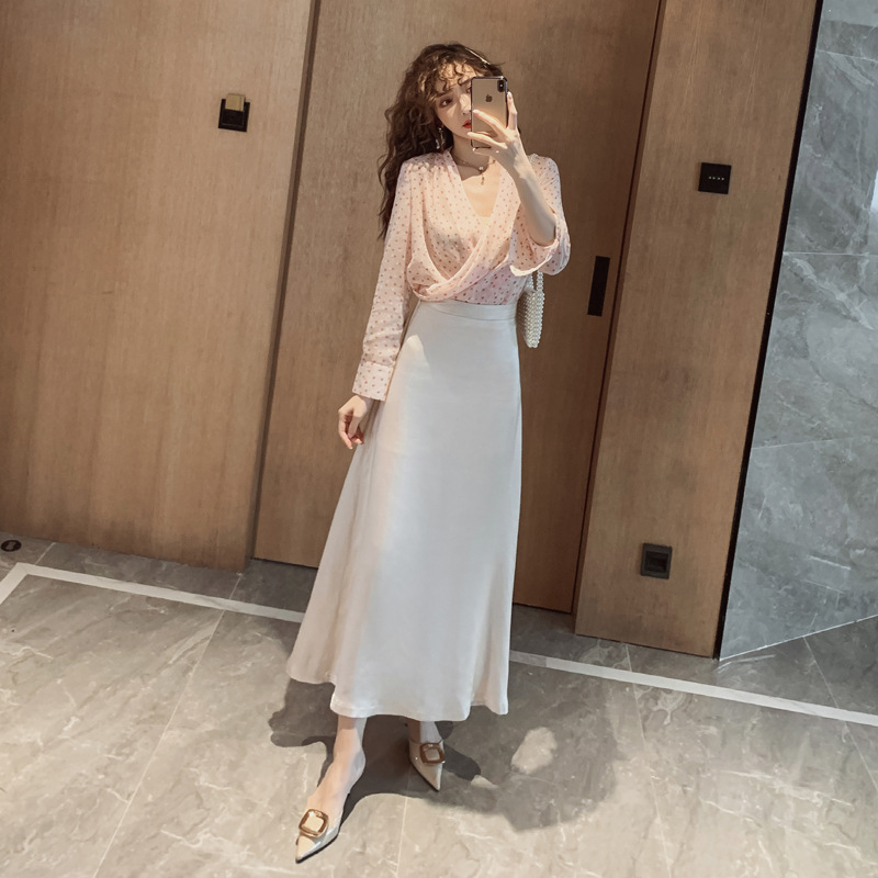 WOMEN'S Dress 2019 Autumn Korean-style Elegant Loose-Fit Shirt High-waisted Slimming Big Hemline-Shaped Long Skirts Set Sell
