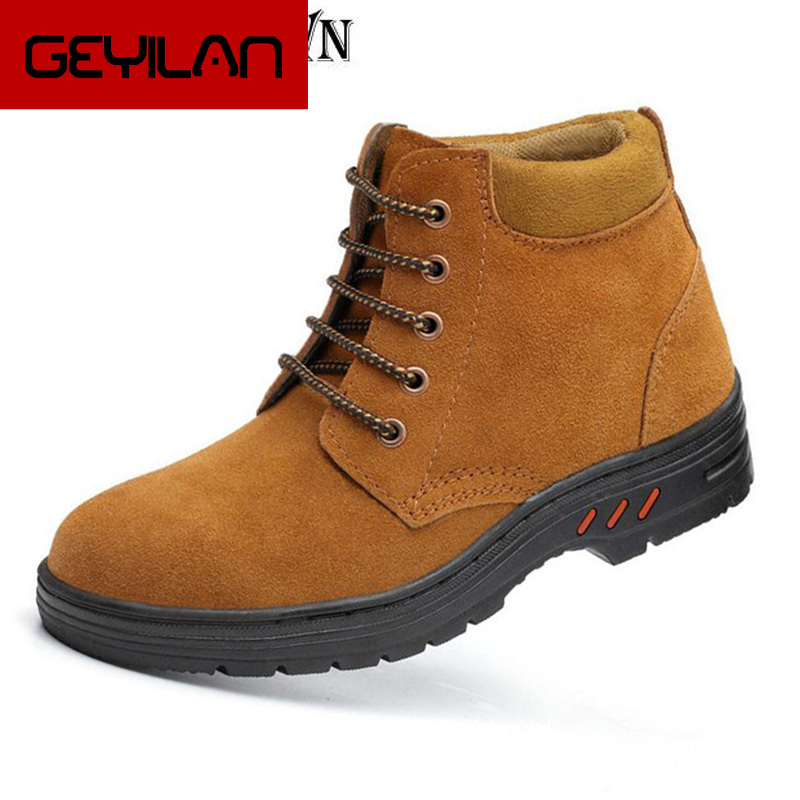 Men flock leather steel toe cap work safety men boots waterproof outdoor ankle boot footwear man shoes plus size 38-46 H101 image