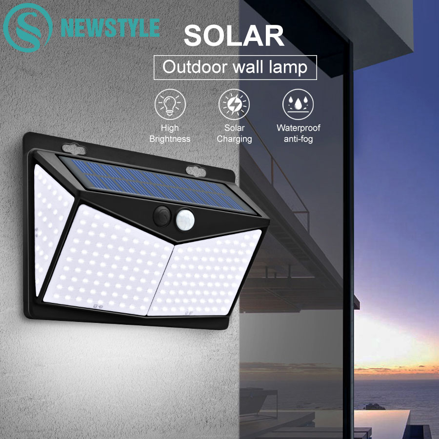 208 LEDs Solar Wall Lamp LED Light 3 Modes PIR Motion Sensor 270     Wide Angle Waterproof Garden Light Outdoor Path Security Light