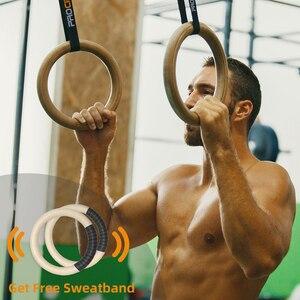 Image 2 - Procircle Anillas de gimnasia, aros de madera de 28/32mm con largas tiras ajustables con hebilla para entrenar Cross Fitness en el gimnasio o en casa