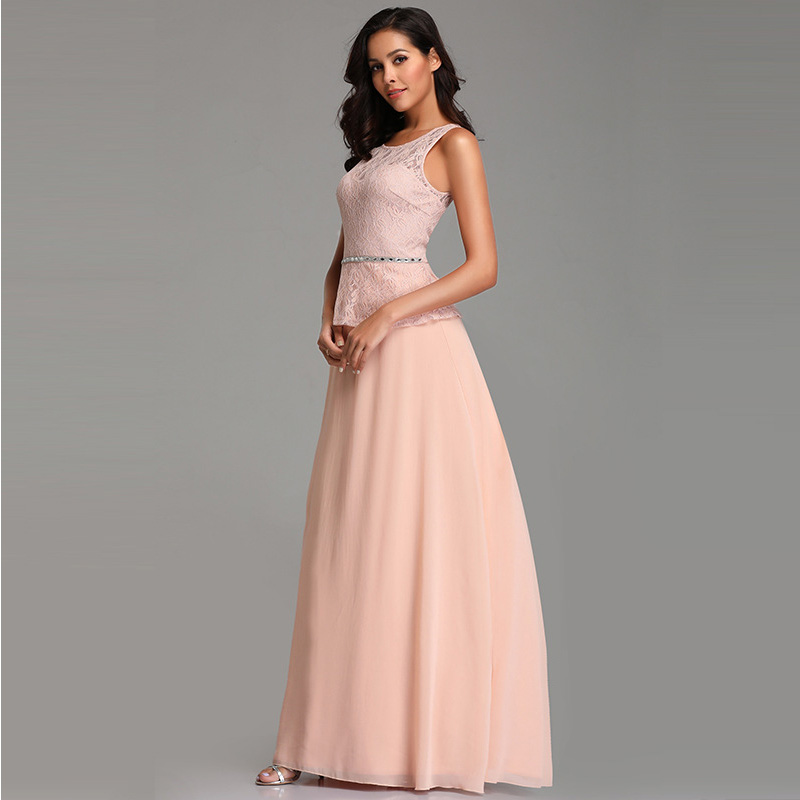 It's Yiiya Bridesmaid Dress Solid O-Neck Plus Size Lace Robe De Soiree Sleeveless Floor-Length Zipper Women Party Dresses C453