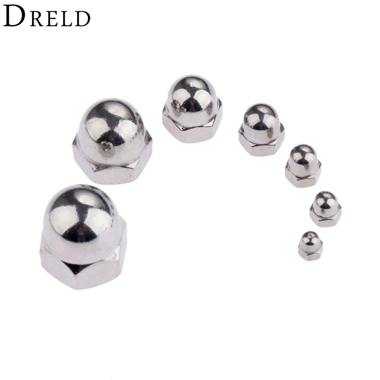 DRELD 10Pcs M3/M4/M5/M6/M8 Stainless Steel Cap Nuts Round Head Cover Decorative Nut Metric M3-M8 Hex