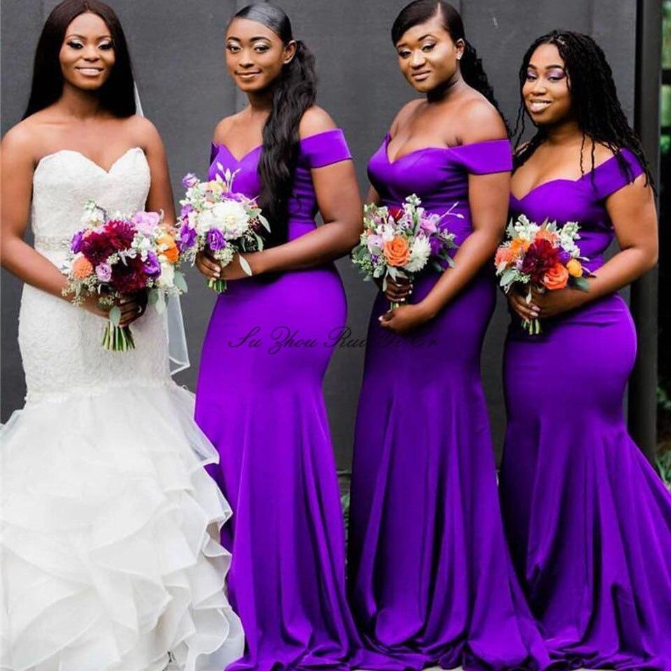 Purple Wedding Guest Dresses Off The Shoulder Bridesmaid Dresses Mermaid Gown Lace Up Back Satin Robe Demoiselle D'honneur