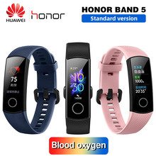 Huawei Honor Band 5 สมาร์ทสายรัดข้อมือ Oximeter เลือดออกซิเจน Magic สีสัมผัสหน้าจอว่ายน้ำจังหวะตรวจจับอัตราการเต้นของหัวใจ Sleep Nap