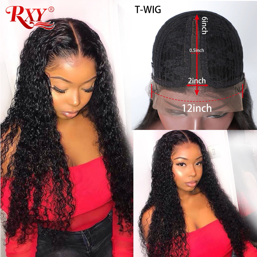 RXY Deep Wave Lace Frontal Wig Glueless Lace Frontal Human Hair Wigs Pre Plucked With Baby Hair T Part Wigs Brazilian Hair Remy