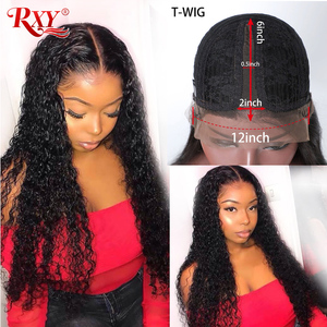 Image 1 - RXY Deep Wave Lace Frontal Wig Glueless Lace Frontal Human Hair Wigs Pre Plucked With Baby Hair T Part Wigs Brazilian Hair Remy