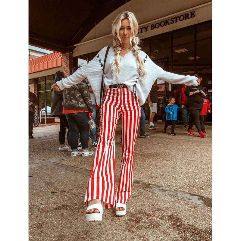 Hirigin nouvelle cravate teinture pantalon évasé pour les femmes mode dame taille haute cloche-bas pantalon Streetwear femme taille élastique pantalon