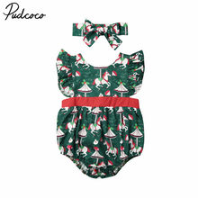 2019 Baby Christmas Clothing Newborn Baby Girl Xmas Print Bodysuit Butterfly Sleeve Jumpsuit+Headband 2Pcs Outfits Clothes 0-24M(China)
