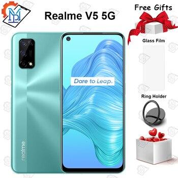 Перейти на Алиэкспресс и купить Оригинальный Realme V5 5G мобильный телефон 6,5 дюймов 6 ГБ 128 Dimensity 720 Android 10 5000 мА/ч, Батарея 48MP Quad Camera Smartpone
