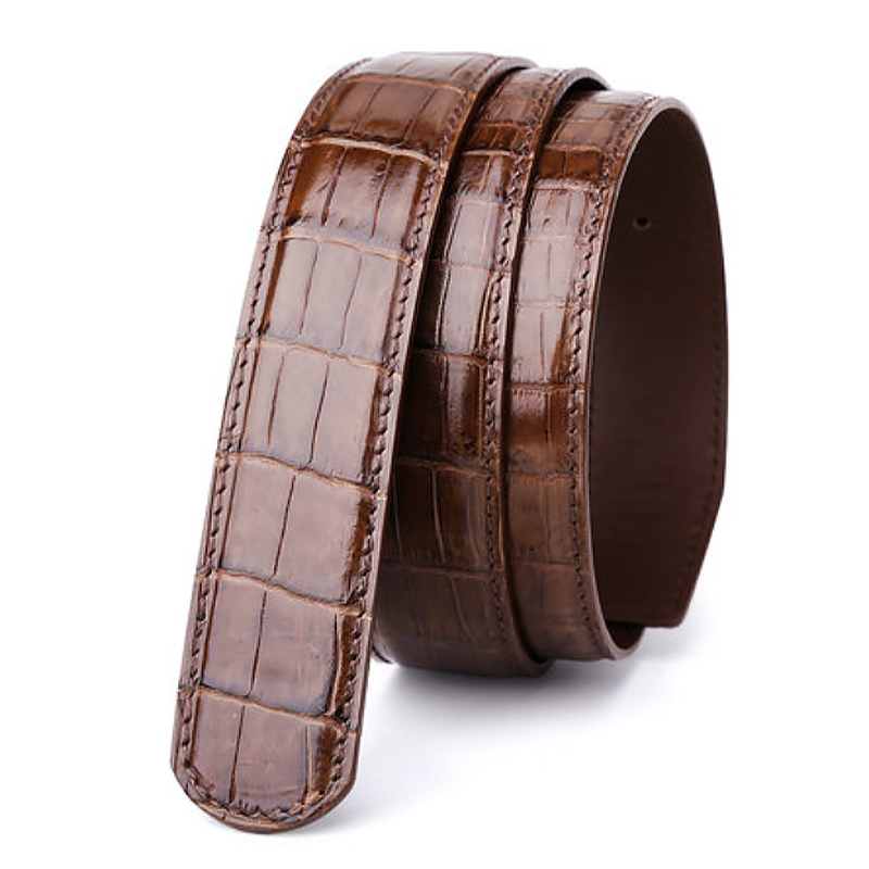 male belt without buckle mens genuine leather belt men luxury strap belts for men high quality crocodile belts mens leather 6350-in Men's Belts from Apparel Accessories