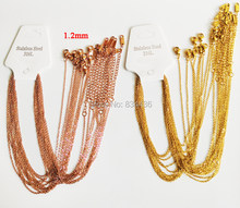 10pcs/lot 1.2mm thin 5cm Extender Adjustable Rose Gold Color 316L stainless steel necklaces cuban Link chains women jewelries