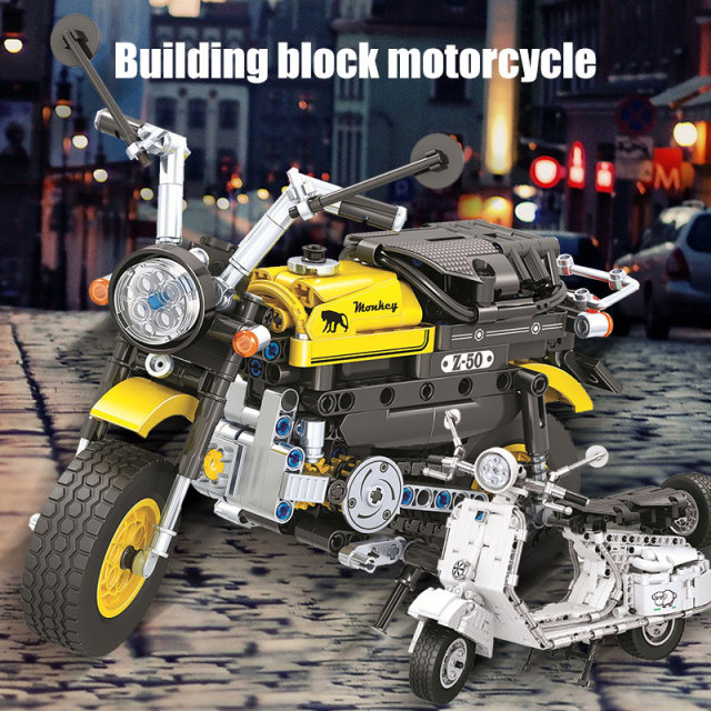 City Diy Motorbike Model Building Blocks  Technic Pedal Motorcycle Locomotive Bricks Educational Toys for Children