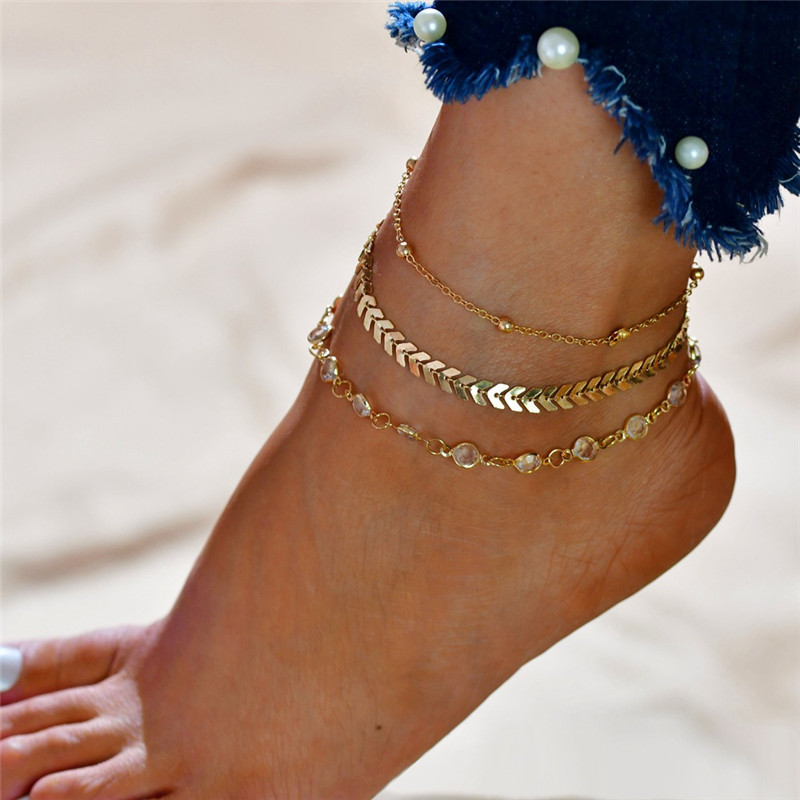 Layered Anklets Women Heart Gold Ankle Bracelet Charm Beaded Dainty Foot Jewelry for Women and Teen Girls Summer Barefoot Beach 1