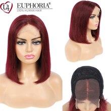 Burg pelucas de cabello humano brasileño Remy con cierre de encaje, marrón, 33 Rubio, Bob, EUPHORIA, 99J