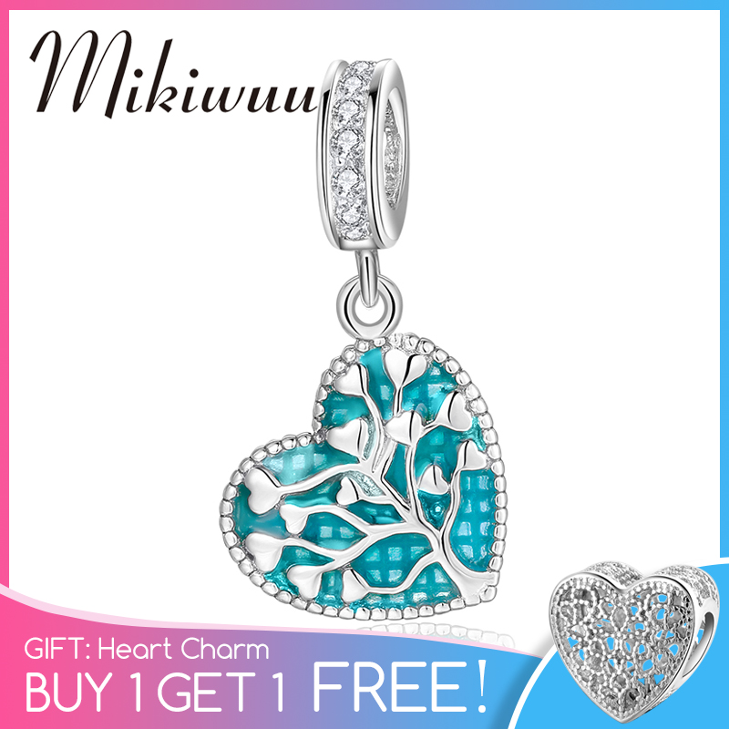 New 925 Sterling Silver Green Tree Of Life Heart Fine Charm Pendant Beads Jewelry Making Fit Original Pandora Charm Bracelet