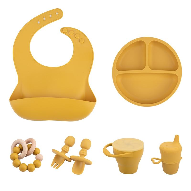 Детская посуда нагрудник пластина ложка чашка, вилка силиконовые ложки для кормления, комплект без добавления бисфенола А Водонепроницаем...