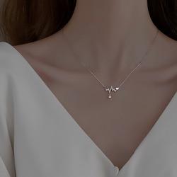 Hot 925 Sterling Silver Geometric Rhinestone Zircon Pendant Necklace Women Jewelry Party Gift